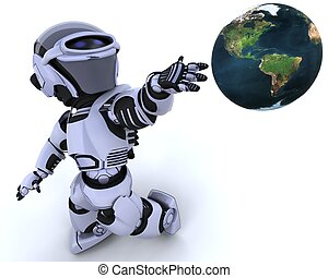 cute robot cyborg - 3D render of a robot introducing or...