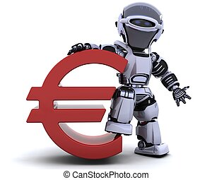 robot with euro symbol - 3D render of a robot with euro...