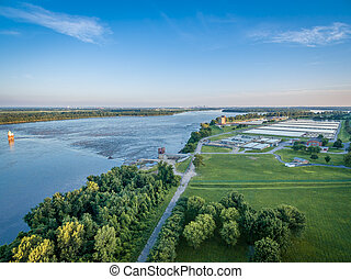 MIssissippi River aerial view - aerial view of the...