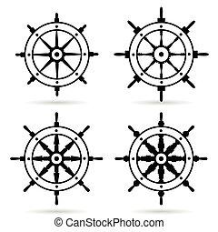 rudder in black color set illustration on white background
