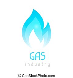 Gas blue flame. Industrial conceptual illustration of fire