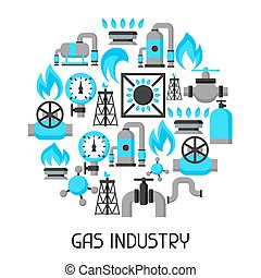 Natural gas production, injection and storage. Industrial background design