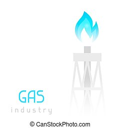 Gas rig drilling equipment with flame. Industrial illustration