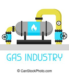 Gas heat exchanger in refinery. Industrial illustration in flat style