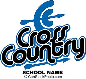 cross country team design with arrow for school, college or...