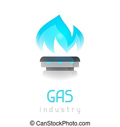 Blue gas flame on stove. Industrial illustration