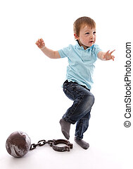 Little Boy Escaping ball and Chain on white background