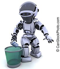 robot with trash can