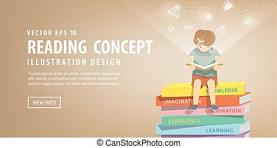 Boy reading a book on a pile of books, brown background and icons refer to knowledge and learning illustration vector.