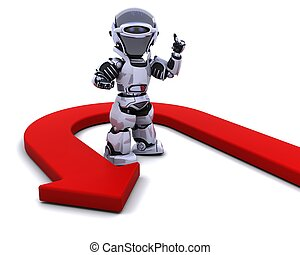 robot with u-turn arrow - 3D render of a robot with u-turn...