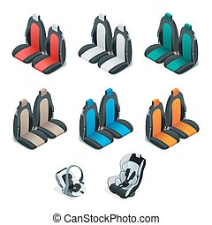 Modern set of car seat icons. Editable automotive collection. Vector isometric 3d flat illustration. Safety Car seat for baby and kid, isolated