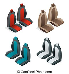 Modern set of car seat icons. Editable automotive collection. Vector isometric 3d flat illustration.