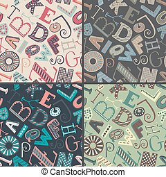 Set of four color variations seamless patterns with hand drawn fancy alphabet