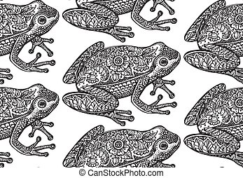 Seamless pattern with black and white ornate doodle frog