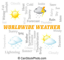 Worldwide Weather Represents Earth Forecast And Worldly -...
