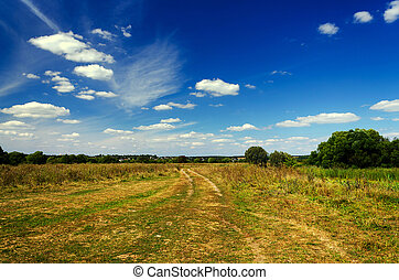 Landscape with dirt road in the countryside