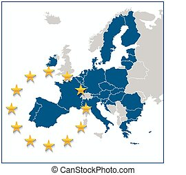 European Union map with new 27 number of states with United...