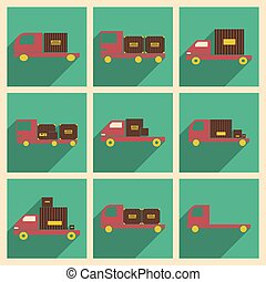 Flat with shadow concept and mobile application car freight...