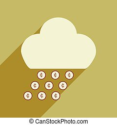 Flat with shadow icon cloud and rain of coins