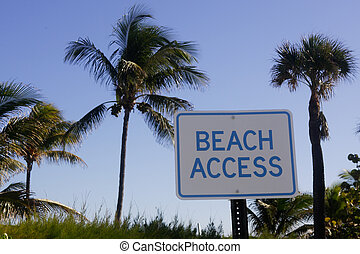 beach access - Palm tree and beach access sign