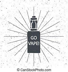 Vintage emblem of the electronic cigarette, logo or label...