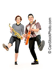 style of 60s - Guitarist and saxophonist duo in the style of...