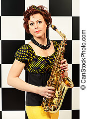lady saxophonist - Beautiful saxophone player in retro...