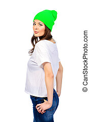 bright green hat - Cute young girl in everyday clothes...
