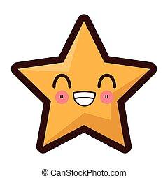 kawaii star icon - flat design kawaii star icon vector...