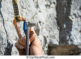 carabiner and climbing rope - Carabiner, spit and climbing...