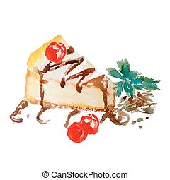 Watercolor isolated yellow cheesecake with cherry and mint