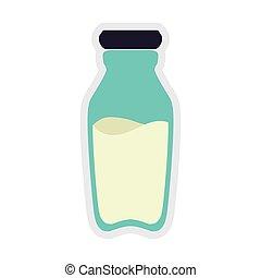 milk bottle healthy food organic food market icon Vector...
