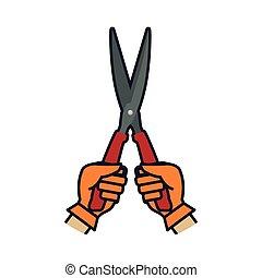 Scissors hand garden gardening tool icon Vector graphic -...