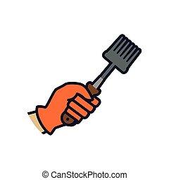 Rake hand garden gardening tool icon Vector graphic - Rake...