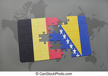 puzzle with the national flag of belgium and bosnia and...