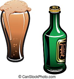 German beer - Glass of german beer and bottle isolated on...