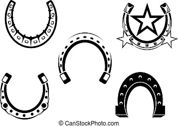 Set of horseshoes elements for design lucky concepts