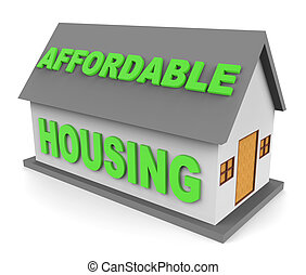 Affordable Housing Indicates Cut Price And Apartment 3d...