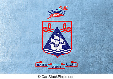 Flag of Haifa City, Israel, painted on leather texture
