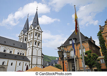Market place in Boppard at the River Rhine in Germany
