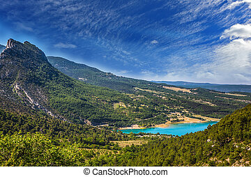 Canyon of Verdon, Provence, May. Magnificent lake with...