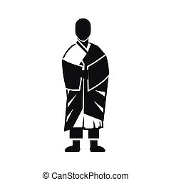 Buddhist monk icon, simple style - Buddhist monk icon in...