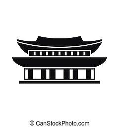 Gyeongbokgung palace, Seoul icon, simple style -...