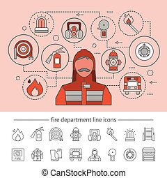 Fire Department Concept - Fire department concept with...