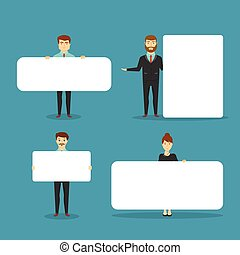 Business People With Blank White Boards