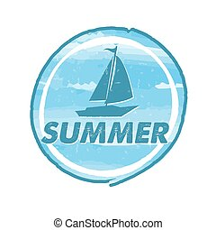 summer with blue boat, vector - summer with blue boat,...