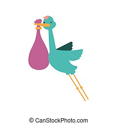 Stork bag baby shower icon Vector graphic - Stork bag baby...