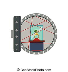 Strongbox ring security money financial item icon. Vector...