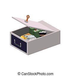 Strongbox security money financial item icon Vector graphic...