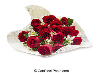 Roses bouquet - Red roses bouquet on white background...